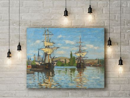 Claude Monet: Ships Riding on the Seine at Rouen. Fine Art Canvas.